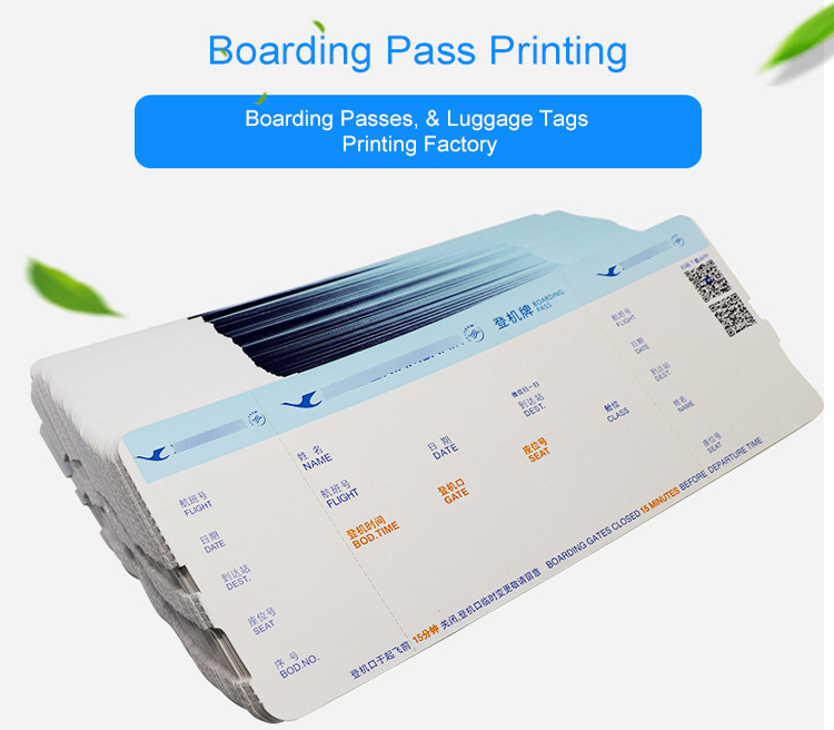Factory Selling Custom Printed Airline Boarding Pass Airline Tickets
