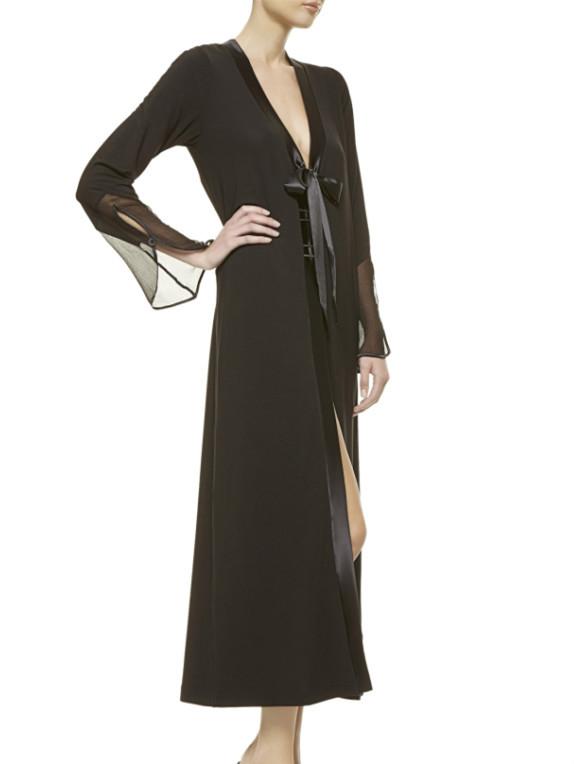 Sexy Long Black Chinese Silk Kimono Robes
