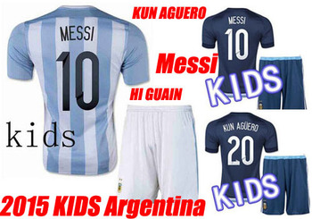 a676965dd Best Quality 2015 Kids Argentina MESSI Soccer Jerseys Uniforms Set 15 16  Boys Argentina Children Shirts ...