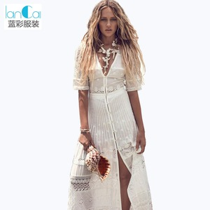 Bulk wholesale clothing girls long dress Maxi white Lace dresses women