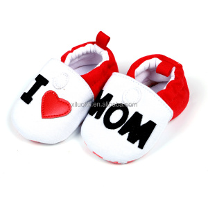 I Love Mom casual canvas fringe children shoes wholesale newborn baby moccasin