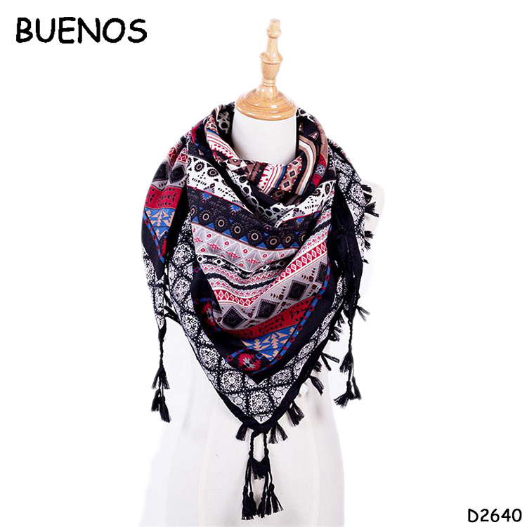 Hot Sale New Fashion Woman Tassel Printed Wraps Square Scarves