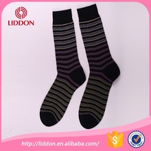 High quality euro size mens crew coloured striped mercerized cotton socks
