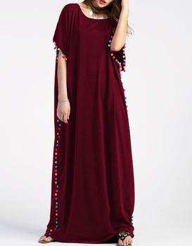 365676a05b Pom-pom Trim Full Length Kaftan Dress long sleeves maxi abaya fashion  islamis kaftan dress