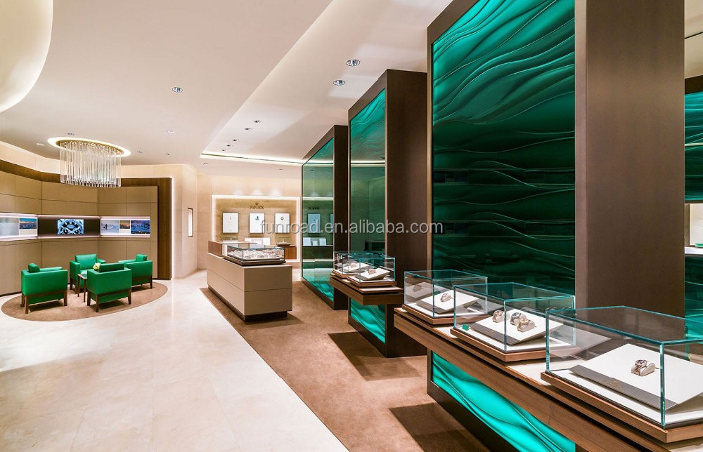 Layser Cut Wooden Green Lacquered Wall For Brand Watch