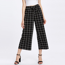 Commercio all'ingrosso di Estate Donne Tartan <span class=keywords><strong>Plaid</strong></span> Nero <span class=keywords><strong>Pantaloni</strong></span>