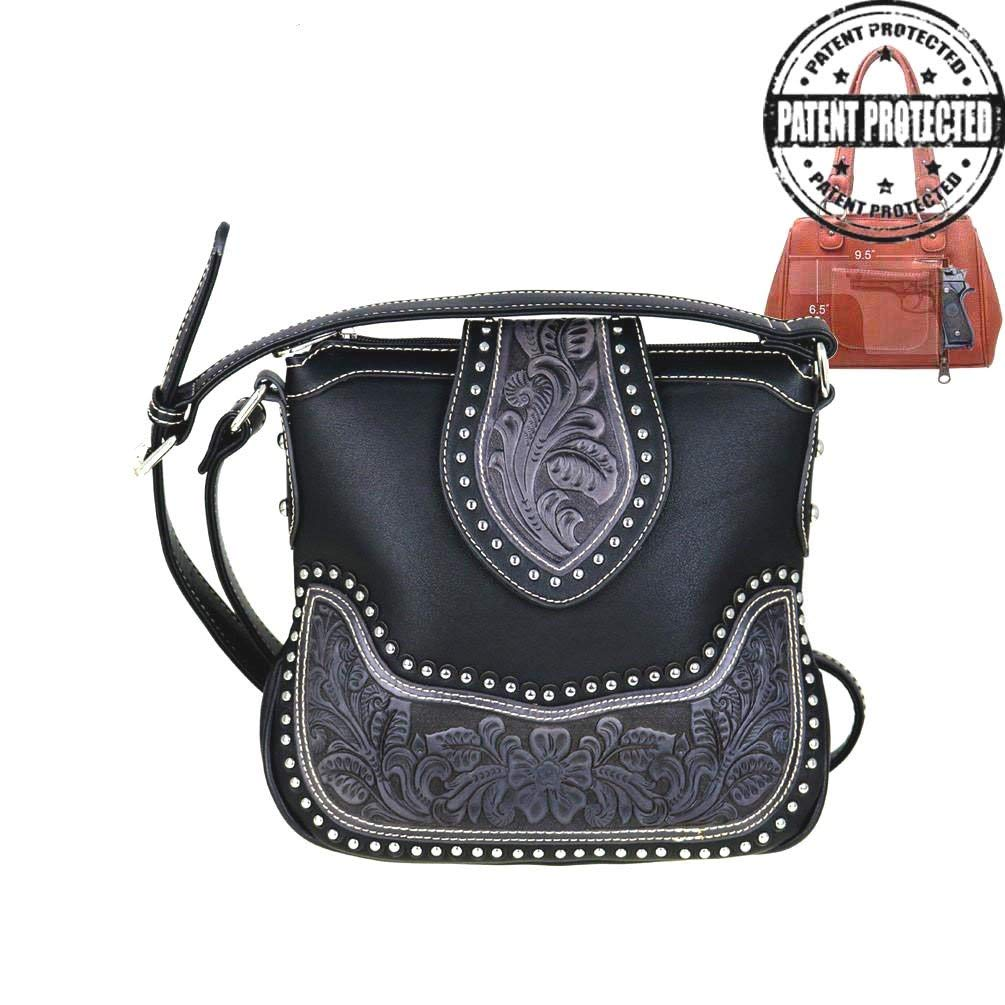 d50c9ef7735 Get Quotations · Montana West Ladies Concealed Gun Messenger Purse Tooled  Genuine Leather