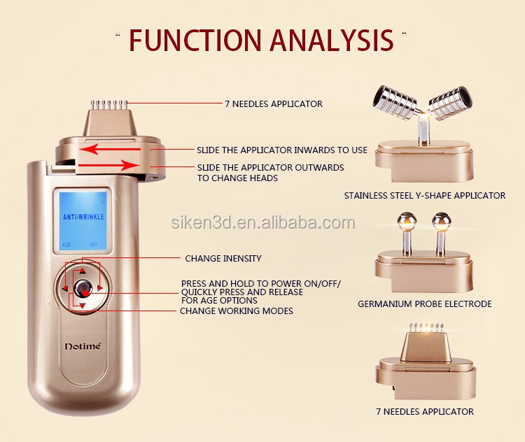 24k gold plated 7 needles home use galvanic facial machine for anti-wrinkle