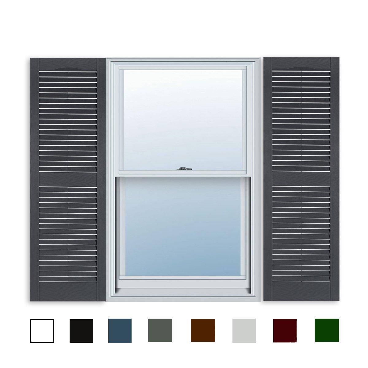 12 X 35 Builders Choice Vinyl Open Louver Window Shutters W Shutter Spikes S Per