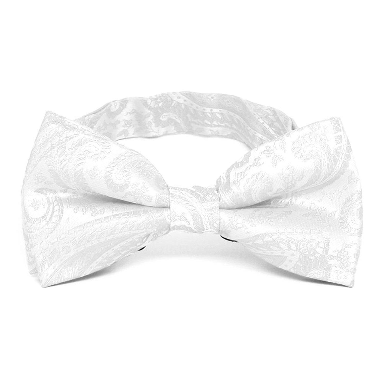 TieMart White Clara Paisley Band Collar Bow Tie