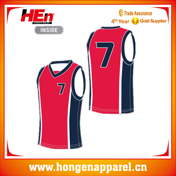 Hongen apparel red digital basketball league basketball uniform/wear /clothing