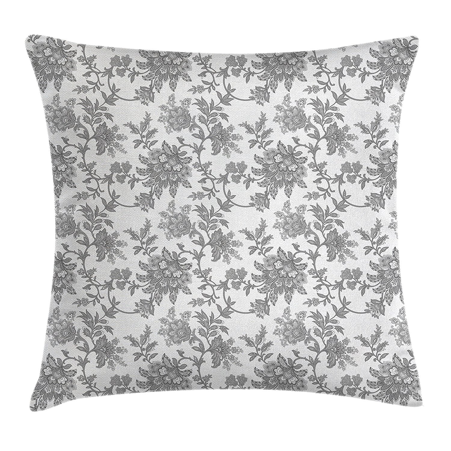 Floral Throw Pillow Cushion Cover by Ambesonne, Monochrome Ethnic Petals Asian Traditional Nature Influences Essence Artwork Print, Decorative Square Accent Pillow Case, 18 X18 Inches, Dimgray