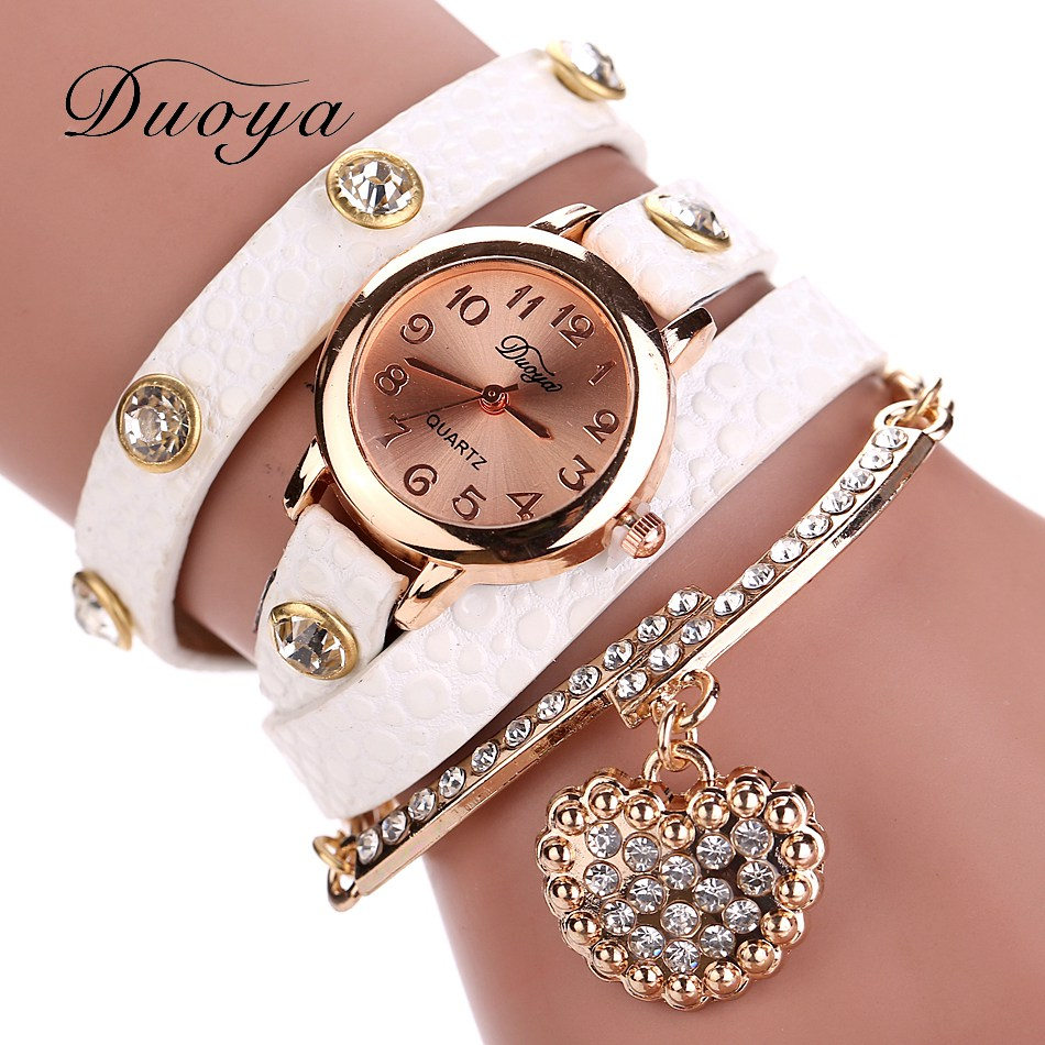 Hot Sale New Casual Luxury Heart Pendant Women Bracelet Wristwatches Women Dress Watches Fashion Watch Brand