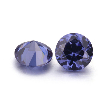 High Quality Lab Created Tanzanite Color Round Cut CZ Stones