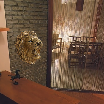 Lion Head Shape Decorative Golden Wall Hanging Luxury Home Accessories