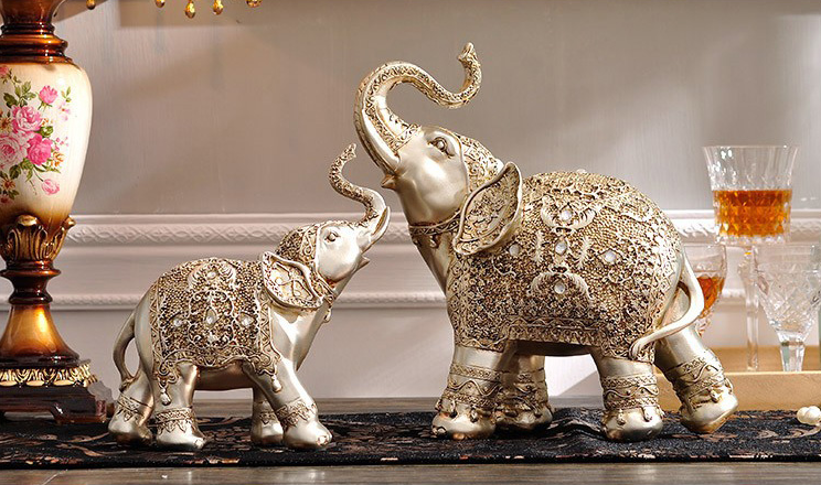 Wholesale new product antique silver animal statue with resin elephant home decor folk art craft Silver elephant home decor