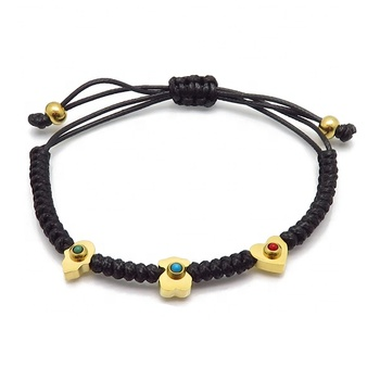 Stainless Steel Hamsa And Bear Shaped Charms Bracelet Cheap Black Braided Leather Cuff Bracelet