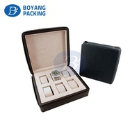 Custom Pu Leather Luxury 6 grid Watch Presentation Boxes display with zipper