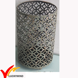 rust wire mesh metal candle holder round