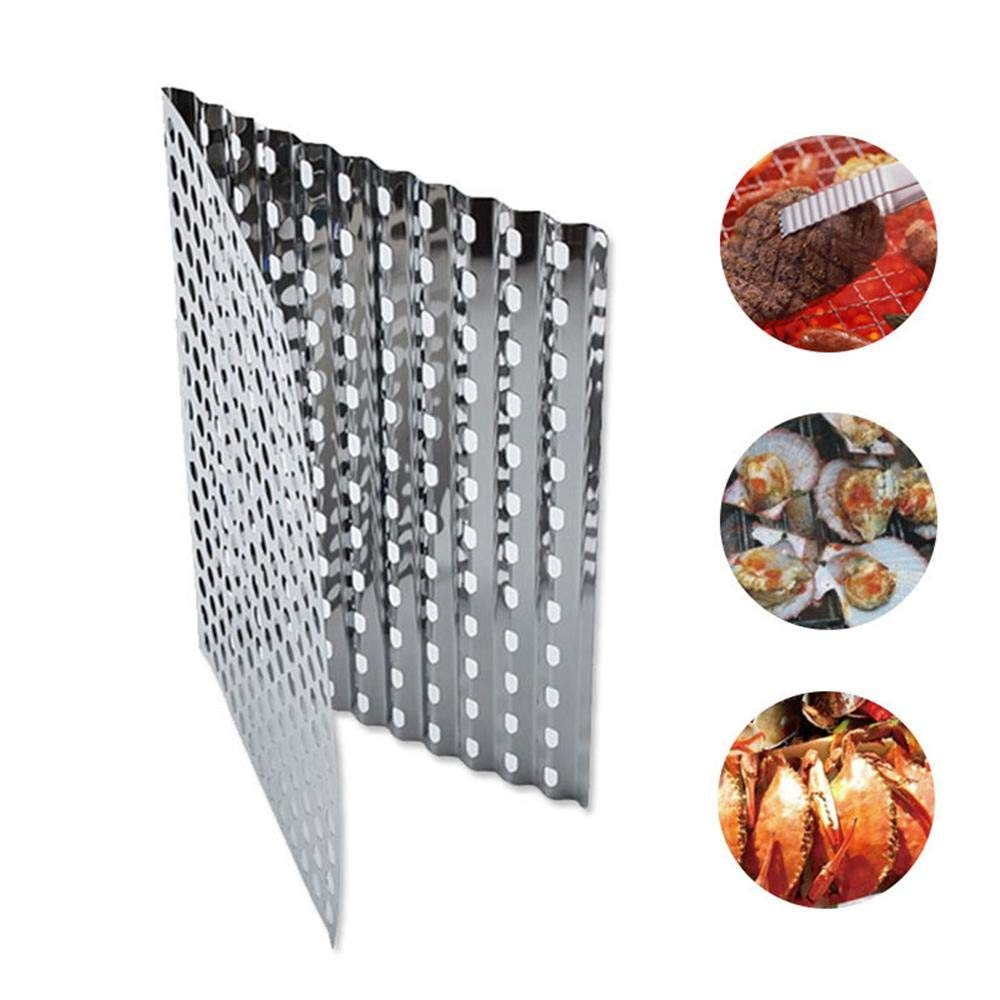 Aolvo BBQ Mesh Grill Mat, 12.28.3in 304 Stainless Steel BBQ Mesh Rack Foldable BBQ Non-stick Grilling Mesh for Grill - Works on Gas, Charcoal, Electric Barbecue
