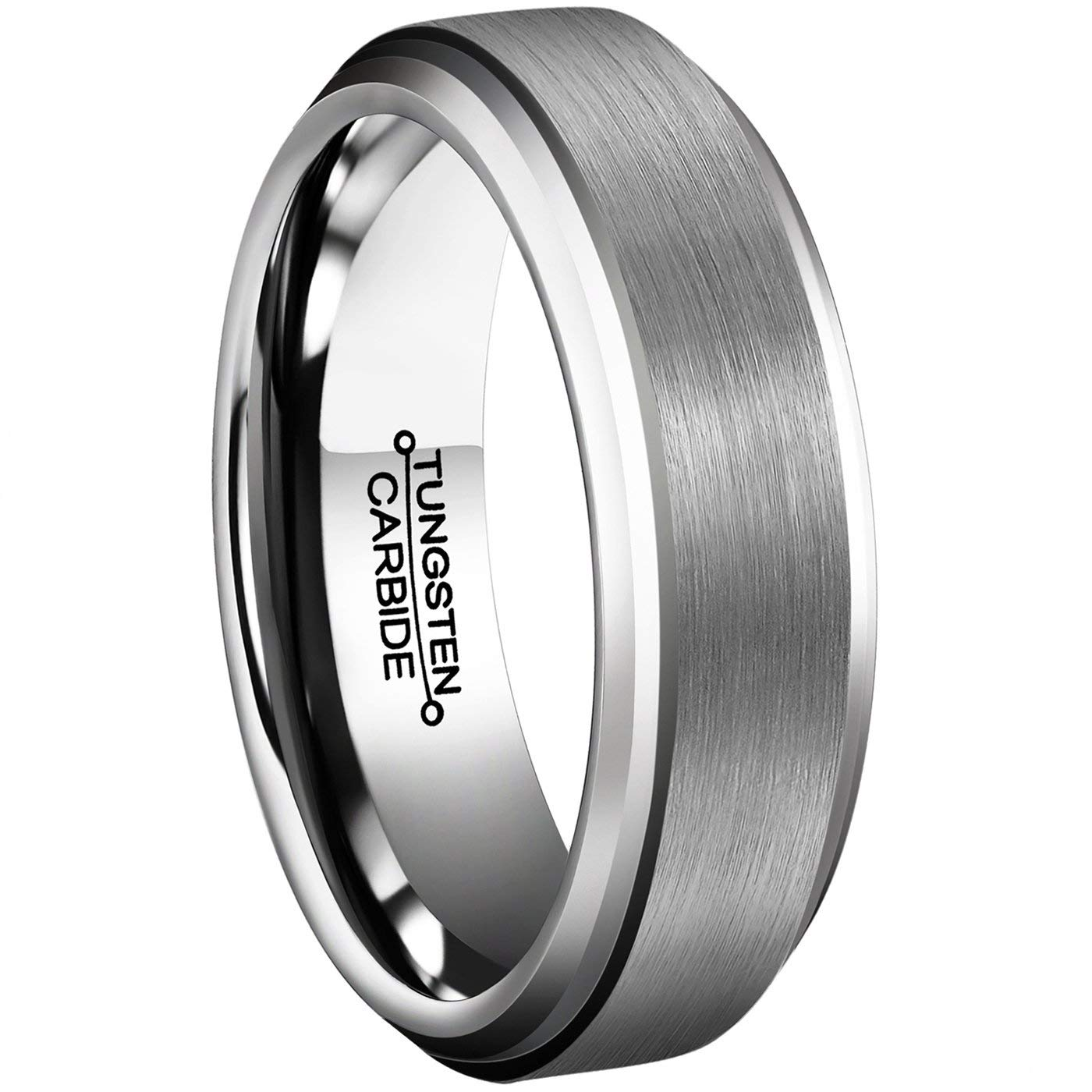 FCL Tungsten Carbide Ring 8MM Blue Carbon Fiber Inlay Black Plated Men Band Size 7-13