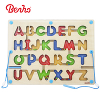 ABC Letter Pen Driving Beads Wooden Alphabet Magnetic Maze Board