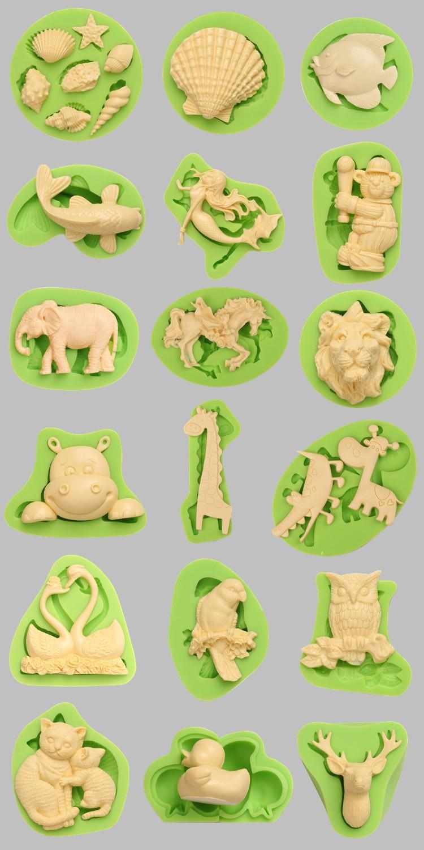 750 Animal Themed Fondant Silicone Molds for cake decorating