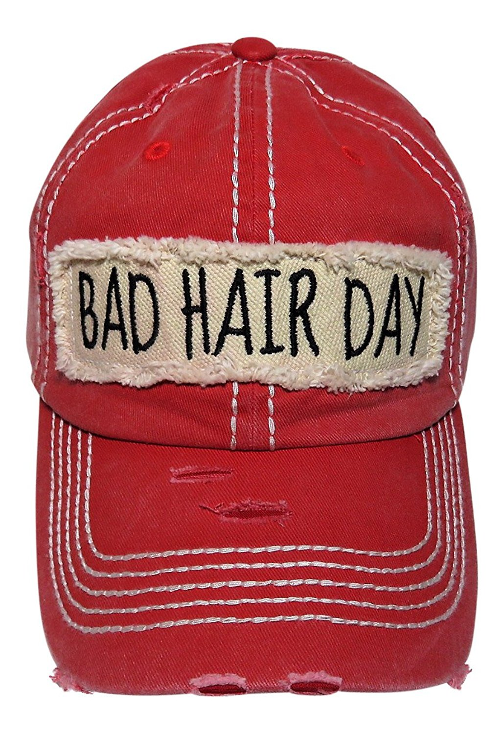 97ac2ea7992 Get Quotations · Spirit Caps Embroidered Bad Hair Day Frayed Patch Washed  Vintage Baseball Cap Hat