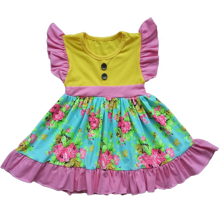 Boutique Kids Clothing Girl Summer Dress Wholesale Printed Children <strong>Frocks</strong> Designs <strong>Cotton</strong> Girls Princess Dresses <strong>Baby</strong> Clothes