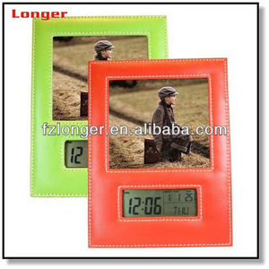 China Supplier Portable Leather Digital Photo Frame with Weather Station