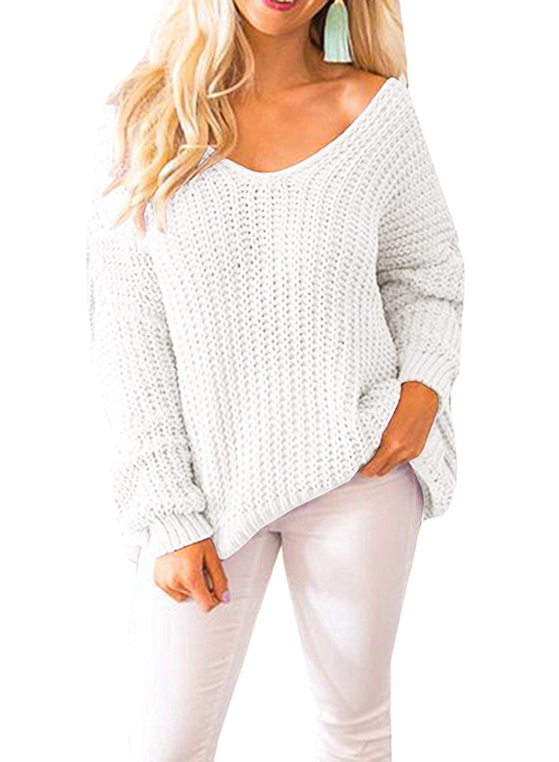 YONYWA Womens Sweaters Oversized V Neck Off Shoulder Long Sleeve Cable Knit Pullover Sweater Tunic Tops