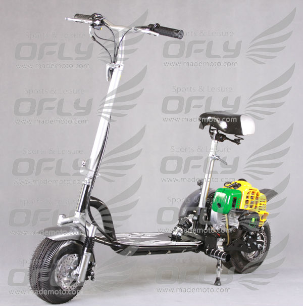 cheap CE Approved fold 2 wheel 49 cc 2 stroke gas scooter