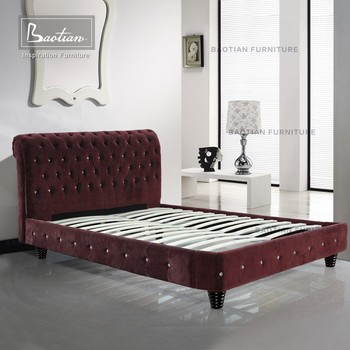Bedroom Furniture Kiln-dried Solid Wood Fabric Bed Chesterfield Bed ...