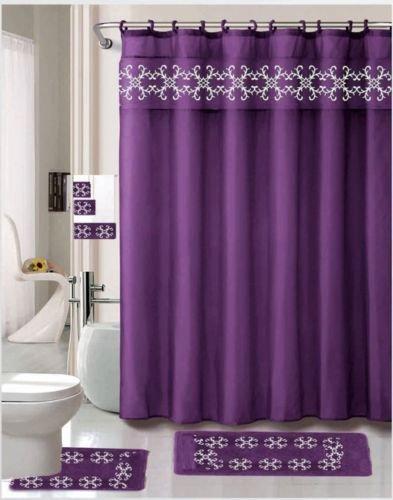 Simone Purple 18 Pieces Shower Curtain, 2 Rugs, 3 Piece Towel Set, 12 Metal Roller Rings