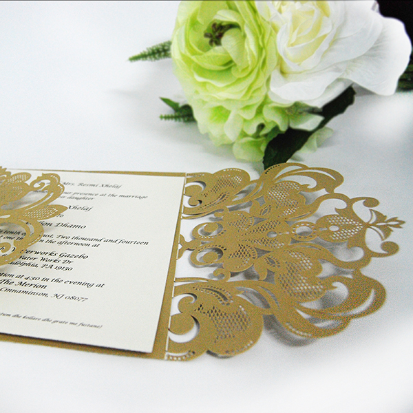Hollow design silk wedding invitation folio laser cut card with hollow design silk wedding invitation folio laser cut card with envelopes stopboris Gallery