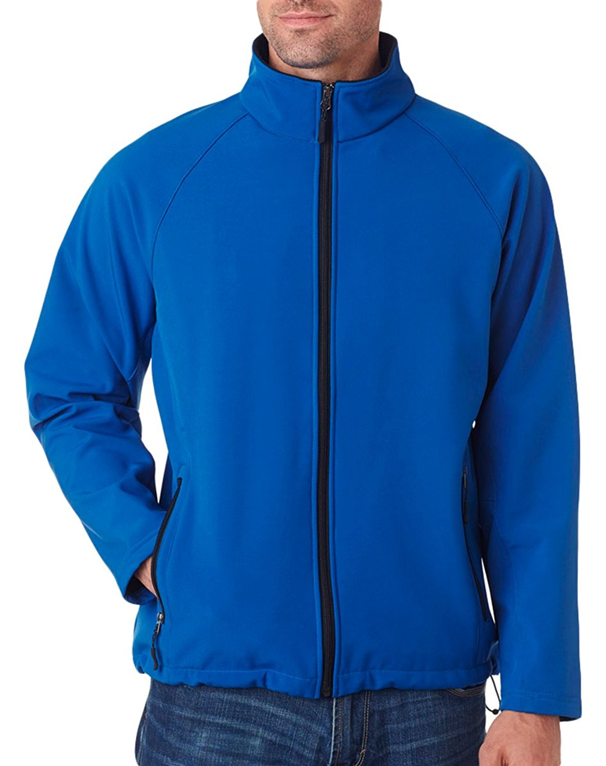 UltraClub Men's Wind Resistant Soft Shell Zipper Jacket, Medium, Classic Blue