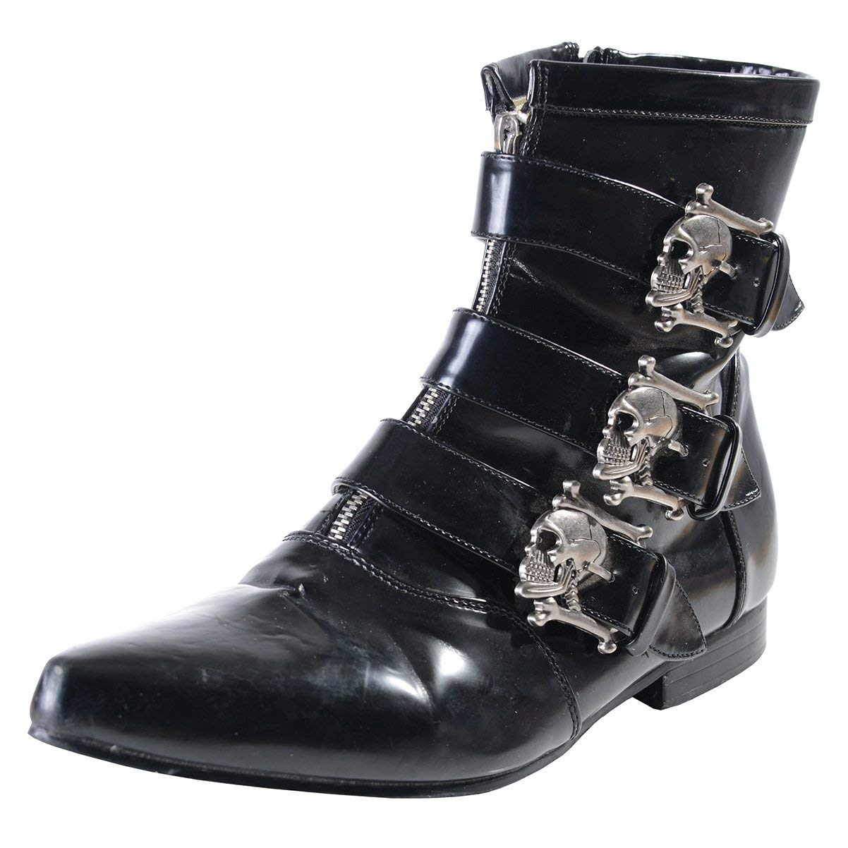 0e58a295da9 Get Quotations · Summitfashions Mens Ankle Boot Skull Buckles GOTH style  Black