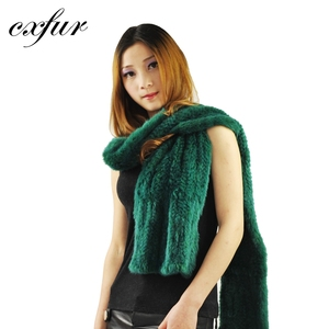 CX-S-20C Green Knitted Real Mink Fur Long Scarf