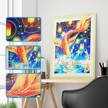 중국어 Manufacturer 싼 Cost 금 Carp Fish 다이아몬드 Painting 대 한 홈 벽 Decor 액자 Canvas Printed Art Patterns MQ452