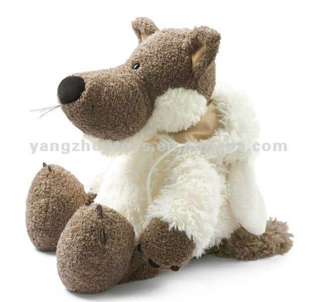custom soft plush wolf toy in sheep skin plush big wolf