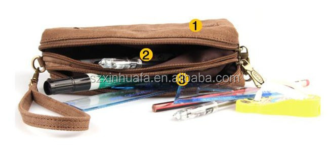 Canvas Cosmetic Bag Zipper Organic With Pu Leather Logo