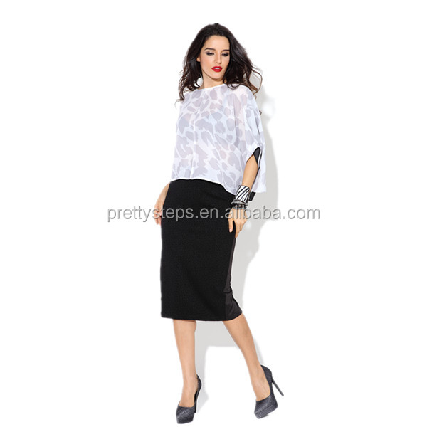 08fd684701 Pretty steps 2018 China latest office clothing long black bodycon skirt  outfit ideas and crop top