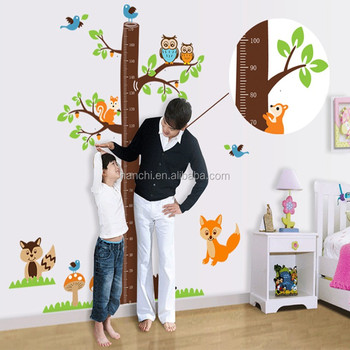 Jungle Forest Animals With Owl Height Chart Growth Chart Wall Decal
