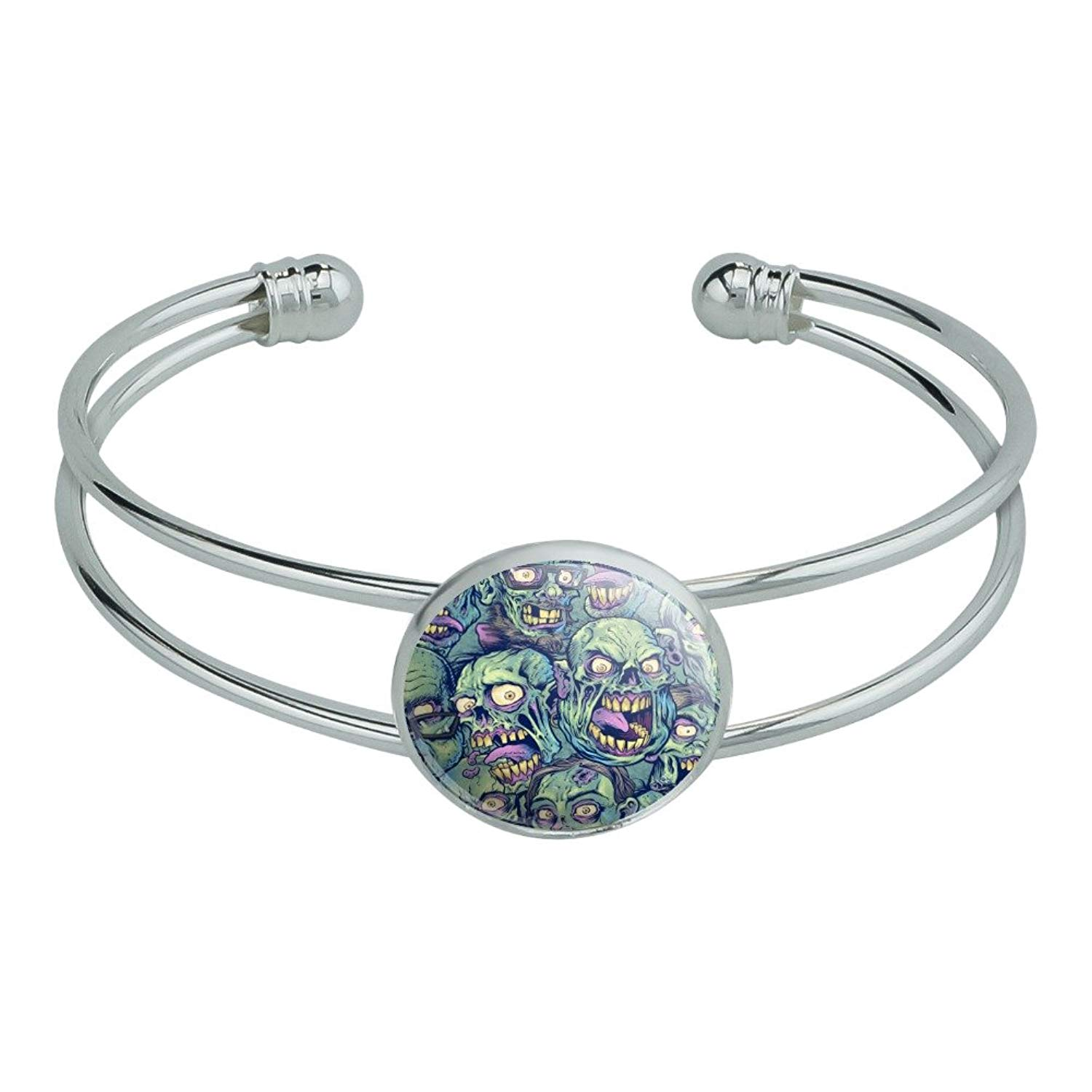 Graphics and More Zombie Pattern Dead Corpses Undead Horror Novelty Silver Plated Metal Cuff Bangle Bracelet