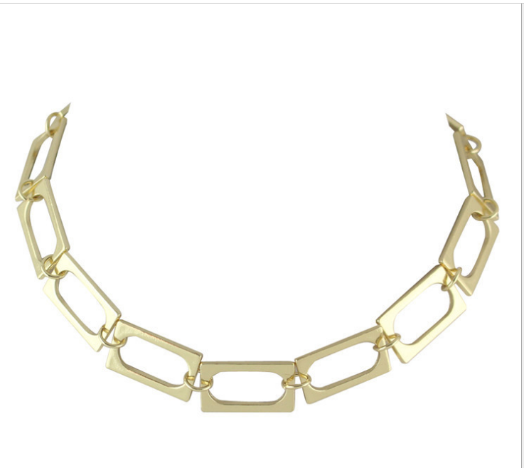 N53-107 fashion women trends new design gold plated metal square links choker necklace