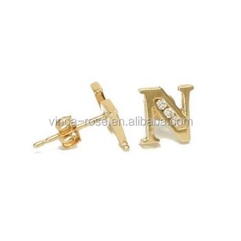 Letter N Shape Fancy Design Gold Earring For Women Wholesale Express Ali