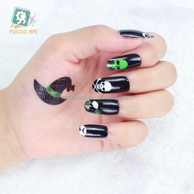 Y5215/Halloween Adhesive Nail Art Stickers Fashion Red Flower Skull Horrible Design Nail Wrap Sticker