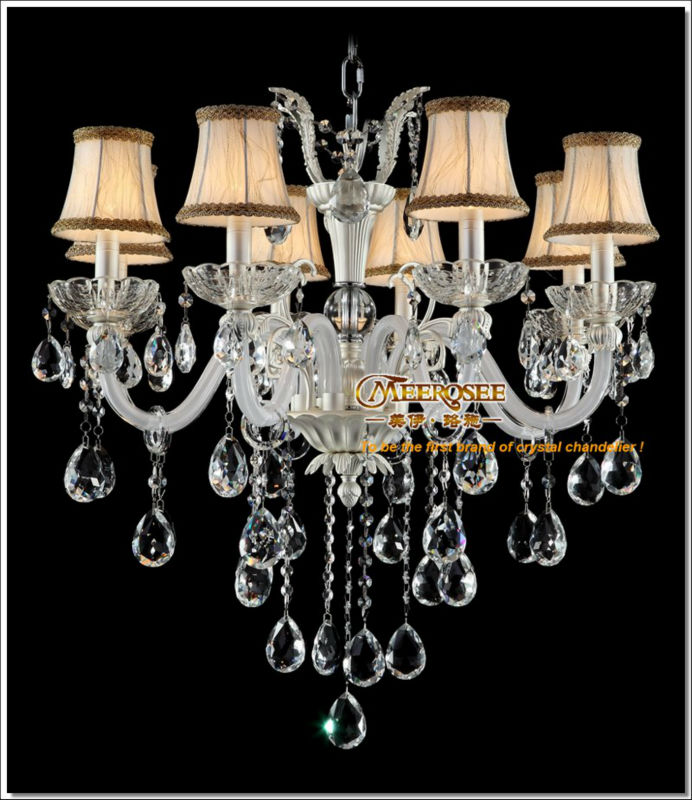 murano verre blanc moderne lustre lampe avec abat jour. Black Bedroom Furniture Sets. Home Design Ideas