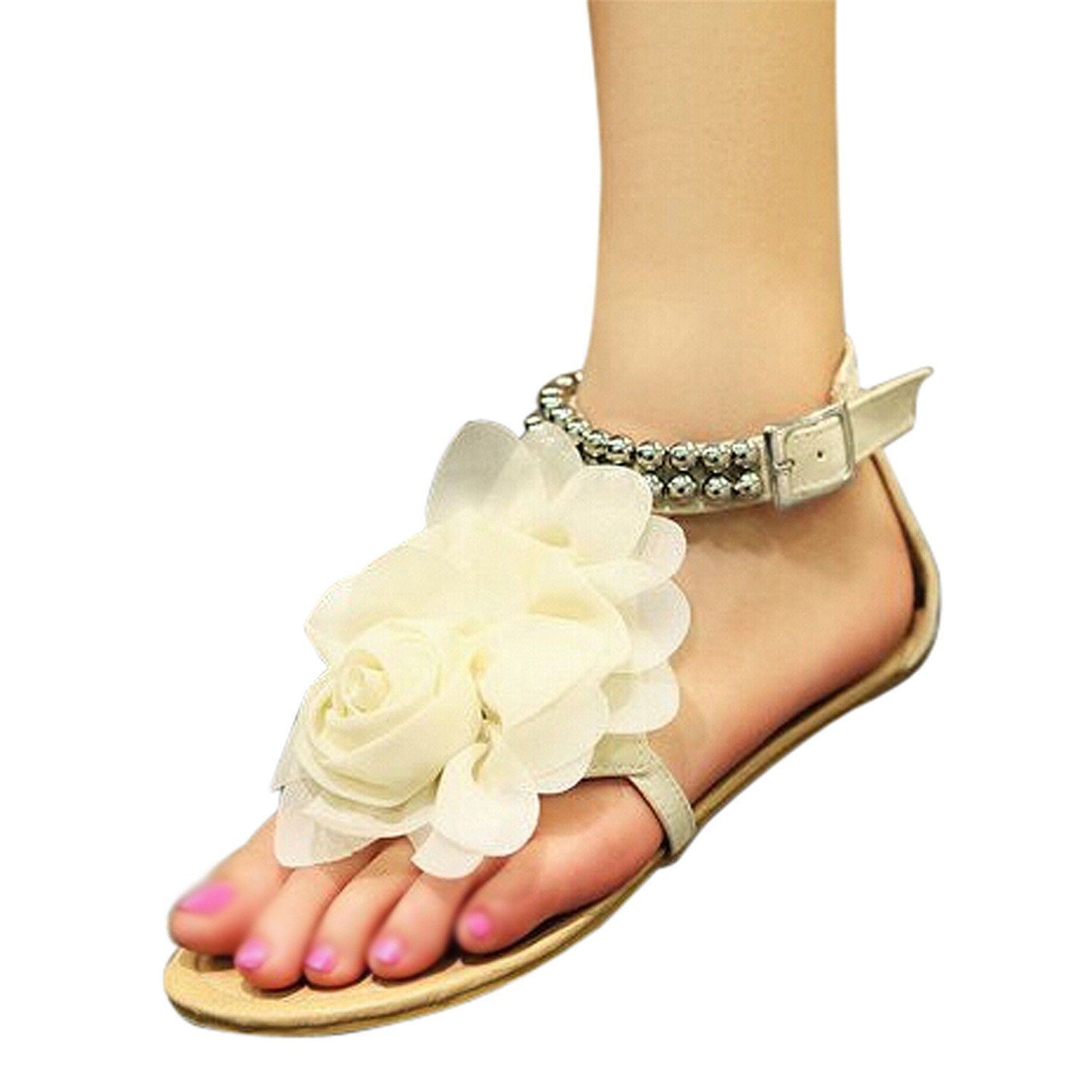 05cf334947231b Get Quotations · Feilongzaitianba Flat Sandals For Women On Sale Under  106Sandals For Women Beaded Summer Flower Flat Heels