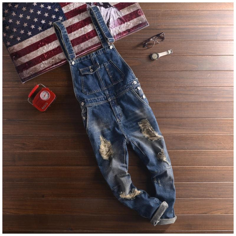 c82eb6ef3540 2019 Wholesale 2016 Fashion Brands Ripped Jeans Bib Overalls Men ...